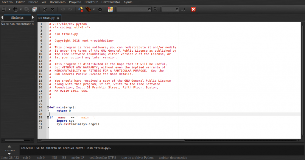 Plantilla de Script Python en geany