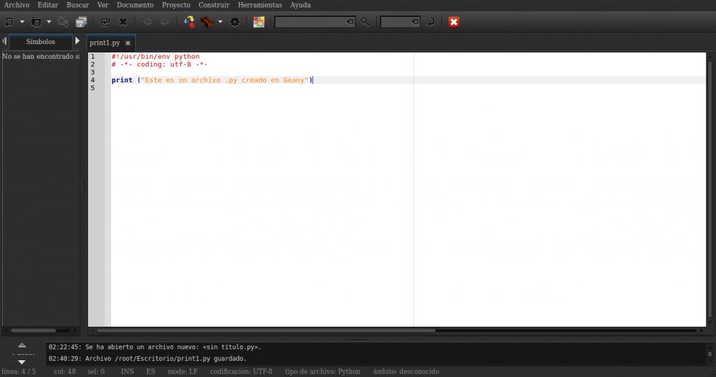 Creando un script de python en geany