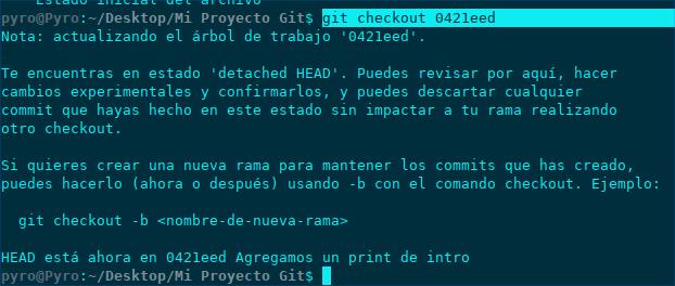 Git checkout moverse de commits