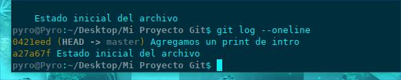 Git log oneline