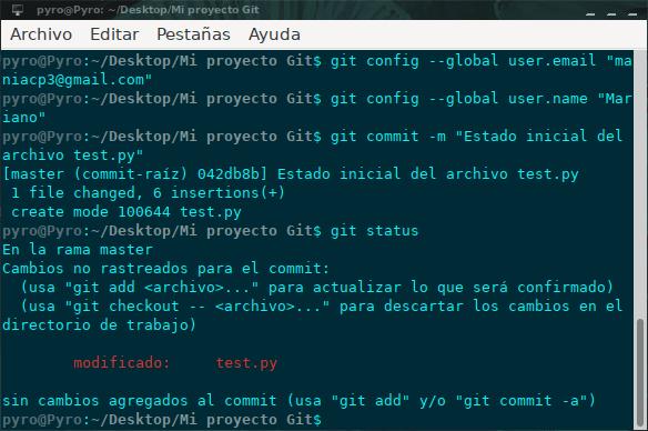 Git status editado archivo